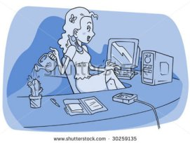 stock-vector-a-multitasking-woman-secretary-who-is-typing-answering-the-phone-and-watering-a-cactus-30259135